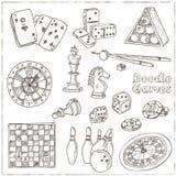 Juegos dibujados mano del garabato fijados Pedazo de ajedrez, ruleta del casino, tarjetas, billares stock de ilustración