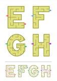 Juegos E, F, G, H del laberinto del alfabeto Foto de archivo