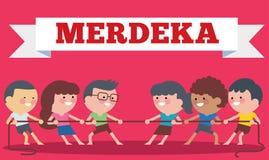 Juegos especiales tradicionales durante Hari Merdeka, Día de la Independencia de Indonesia de Indonesia, esfuerzo supremo de los  ilustración del vector