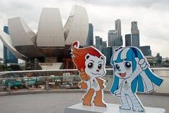 JUEGOS OLÍMPICOS 2010 DE LA JUVENTUD DE SINGAPUR: mascotas Fotos de archivo