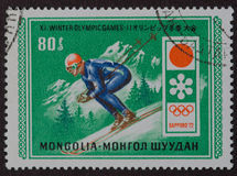 Juegos Olímpicos de Invierno de Mongolia del sello Fotos de archivo