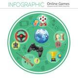 Juegos onlines Infographics Imagen de archivo libre de regalías