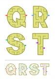 Juegos Q, R, S, T del laberinto del alfabeto Fotos de archivo