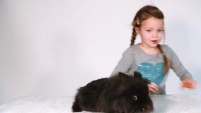 Juegos y abrazos de la muchacha con el conejo almacen de metraje de vídeo