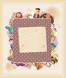 Juegue al juego. Juguetes, dulces y papel. Fondo Imagen de archivo libre de regalías