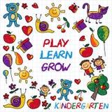 Juegue aprenden y crecen junto imagen del vector Imagen de archivo