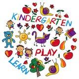 Juegue aprenden y crecen junto imagen del vector Imagenes de archivo