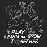 Juegue aprenden y crecen junto imagen en la pizarra Fotografía de archivo