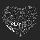 Juegue aprenden y crecen junto imagen en la pizarra Fotografía de archivo libre de regalías