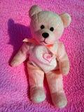 Juegue el oso de peluche rosado con un arco rosado Foto de archivo libre de regalías