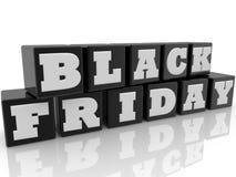 Juegue los cubos en color negro con el concepto de Black Friday ilustración 3D Fotografía de archivo