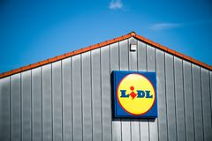 JUETERBOG, GERMANY - SEP 17, 2017: Detail on the facade at LIDL discount supermarket. In Jueterbog, Teltow-Flaeming district of Brandenburg, Germany.  Lidl is a Royalty Free Stock Images