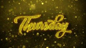 Jueves desea la tarjeta de felicitaciones, invitación, fuego artificial de la celebración