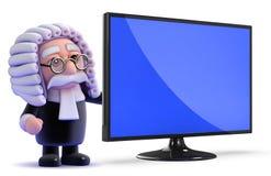 juez 3d con su nuevo monitor con pantalla grande de la televisión del lcd Fotos de archivo