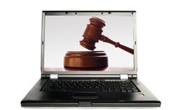 Juez de la computadora portátil Imagenes de archivo