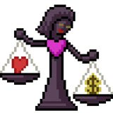 Juez de la escala del amor del arte del pixel del vector stock de ilustración