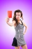 Juez de la mujer aislado en el blanco Fotos de archivo