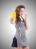 Juez de la mujer contra la pendiente Fotos de archivo