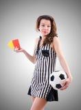 Juez de la mujer contra la pendiente Imagen de archivo libre de regalías