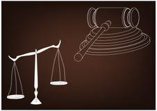 Juez del martillo, escalas de la justicia Imagen de archivo