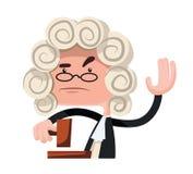 Juez que hace un personaje de dibujos animados del ejemplo del veredicto Imágenes de archivo libres de regalías