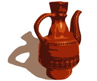 Jug. Image of ceramic jug with the handle of brown color Vector Illustration