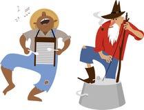Jug band musicians. Country western folk musicians characters playing washboard and washtub bass, EPS 8 vector cartoon stock illustration