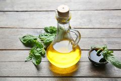 Jug with cooking oil Stock Photo