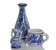 Jug and cup made of ceramic. Royalty Free Stock Photo