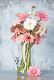 Jug of daisies - blue background Stock Photos