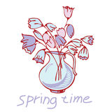 Jug with flowers, bouquet. Vase with spring flowers bouquet stock illustration