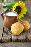 Jug of fresh milk and bread   rustic still life Royalty Free Stock Photos
