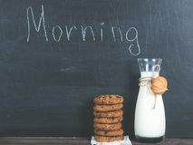 Jug of fresh milk and a fragrant cookies royalty free stock photography