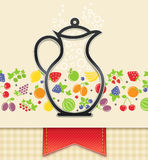 Jug with fruit and berry, food background Stock Image