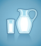 Jug and full glass with milk Stock Photo