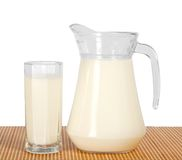 Jug and glass with milk on the bamboo cloth Stock Photography