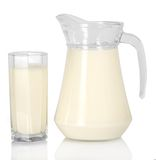 Jug and glass with the milk Royalty Free Stock Photo