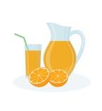 Jug, glass of orange juice and orange fruits on white background. Royalty Free Stock Photo