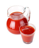 Jug and glass of tomato juice Stock Photography