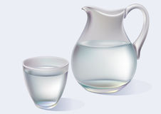 Jug and glass with water. Jug and glass with pure water