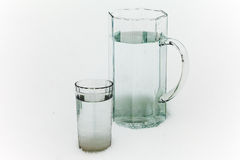 Jug and glass of water Royalty Free Stock Images
