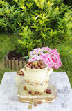 Jug of gooseberry on wooden table Stock Photography