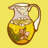 A jug with herbal yellow tea. Inflorescences and leaves of fireweed in tea. Vector illustration Stock Photos