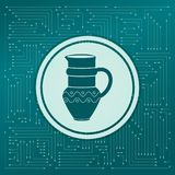 Jug Icon on a green background, with arrows in different directions. It appears the electronic board. Jug Icon on a green background, with arrows in different Royalty Free Stock Image