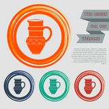 Jug Icon on the red, blue, green, orange buttons for your website and design with space text. Illustration Royalty Free Stock Photos