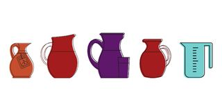 Jug icon set, color outline style. Jug icon set. Color outline set of jug vector icons for web design isolated on white background Stock Photo