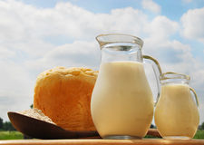 Jug with milk, bread Royalty Free Stock Images