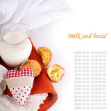 Jug with milk, bread and red heart Stock Image