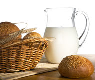 Jug with milk, bread and wheat Royalty Free Stock Photo
