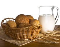 Jug with milk, bread and wheat Stock Photos